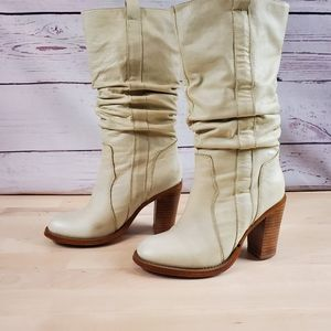 Colin Stuart Tall Ivory Boots Slouchy Cowgirl Heel